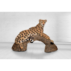 Wildcrete Leopard on Log